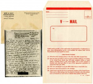 V-mail and letter from Lowther's mother