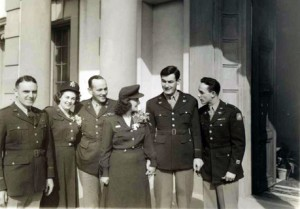 From the left: Chaplain Laird, bridesmaid Ellora Endicott, Colonoel Staige Blackford who gave the bridge away, Frances, Fred, and best man Ted Marks on the porch of the villa where the wedding reception was held.