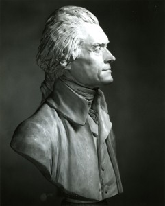 Thomas Jefferson Bust by Jean-Antoine Houdon (replica of original done in 1789). U.Va. prints and photographs file, prints 16054, Special collections, University of Virginia Library, Charlottesville, Va.