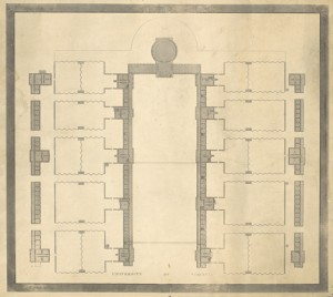 Plan of the University by Peter Maverick, 1825. Accession #6552 and 6552-a, Special Collections, University of Virginia Library, Charlottesville, Va.