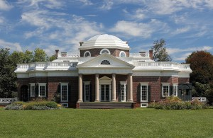 Thomas Jefferson's Monticello. Chinese Chippendale railings on Monticello's uppermost roof, railings on its flat roofed terraces, and lunette windows are similar to those at the Anatomical Theatre. These design features are also found at his Poplar Forest retreat. By Martin Falbisoner via Wikimedia Commons.