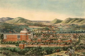 View of the University, Charlottesville & Monticello, taken from Lewis Mountain by E. Sachse & Co., Published by C. Bohn, 1856. A cupola was not part of Jefferson's design. It was probably added after the 1837 resolution to raise the roof. The image of Edward Sachse's clearly shows the cupola was present in 1856. Special Collections, University of Virginia Library, Charlottesville, Va.