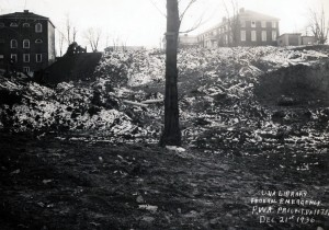 Construction site for Alderman Library, December 21, 1936.
