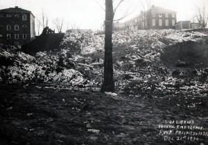 Construction site for Alderman Library, December 21, 1936.