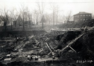 Construction site for Alderman Library, February 20, 1937
