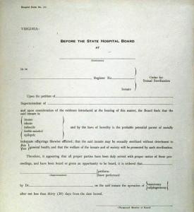 Virginia order form for sterilization procedure