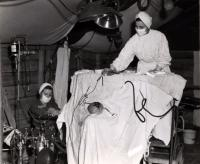 Operating Tent, Sandridge giving anesthesia on left