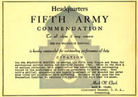 5th Army Commendation for 8th Evac