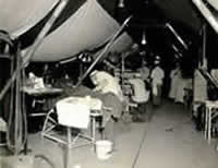 surgical tent in full operation