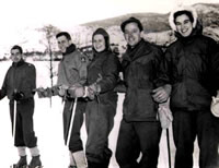 William Waddell, Richard Bell, Alice Huffman, Sam Casscells, and Hilda Franklin on a Ski Outing