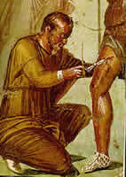 Wall painting from Casa di Sirico, Pompeii, 1st Century BCE: Aeneas receiving medical attention from Iapyx
