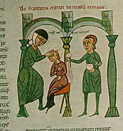 MSS from North Italy, circa 1300, Rome. Rolandus Parmensis, Chirurgia, I, 5-6, Surgical examination of a fractured cranium