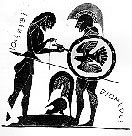 Drawing of Attic Black Figured Vase, Sthenelos bandaging Diomedes' index finger
