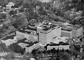 Aerial view of the Hospital, 1960. Photo: Historical Collections, CMHSL, UVa.