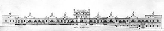 Elevation Drawing, West Facade, University of Virginia Hospital, ca. 1904, Paul J. Pelz, architect