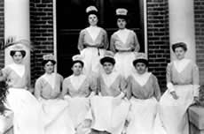Nursing Students at the Hospital entrance, ca. 1906.