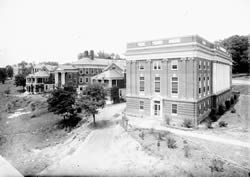A view of the Steele Wing and central Hospital Pavilion before construction.