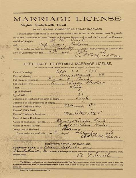 Emma Buck's marriage license. Courtesy of Paul A. Lombardo.