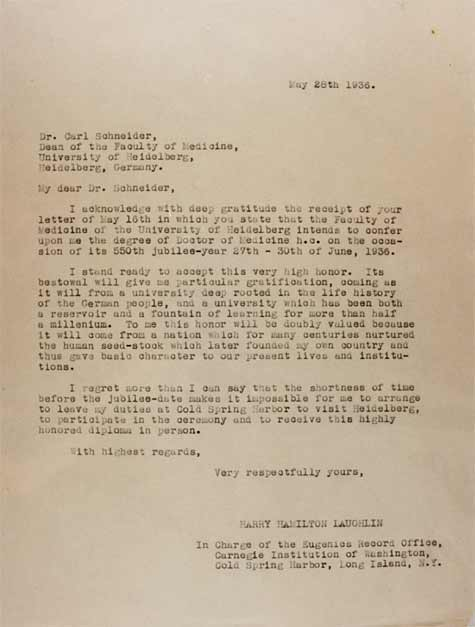 Letter from Laughlin to Dean of the Faculty of Medicine, University of Heidelberg. Courtesy of Special Collections, Pickler Memorial Library, Truman State University.