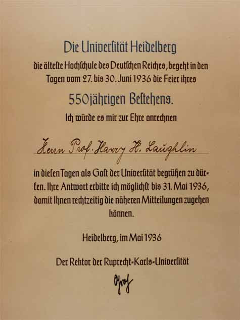 Invitation sent Laughlin by University of Heidelberg. Courtesy of Special Collections, Pickler Memorial Library, Truman State University.