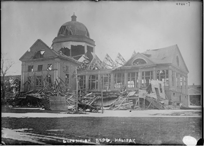 One of many wrecked buildings