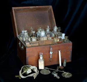 Typical nineteenth-century medical chest