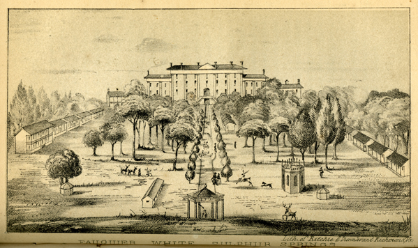 This lithograph shows the resort before the Civil War when two hotels and many of the cottages were burned. {1}
