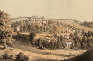 The Virginia Legislature moved to the Fauquier White Sulphur Springs in 1849 when there was a cholera outbreak in Richmond. This print depicts the resort in the mid 1850s. {2}