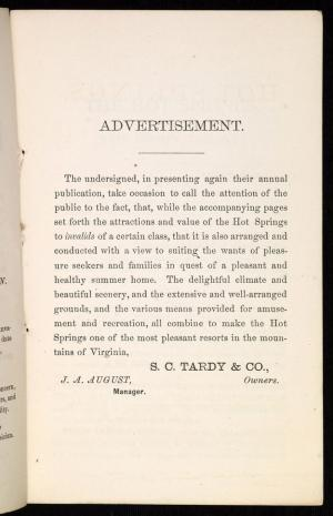 J. L. Cabell, An account of the Hot Springs, Bath County, Va, [Richmond?] : S.C. Tardy, 1873 (Richmond : Clemmitt & Jones), Special Collections, University of Virginia Library.