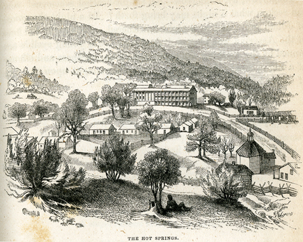 The Hot Springs resort as drawn by Porte Crayon in 1857. The large hotel, the Homestead, was built by Dr. Thomas Goode in 1846. {1}