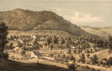 Edward Beyer's print of Hot Springs from the Merritt T. Cooke Memorial Virginia Print Collection, 1857-1907, Special Collections, University of Virginia Library.
