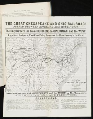 The Great Chesapeake and Ohio Railroad! This 1873 pronouncement by the C&O has a map showing the depot in White Sulphur Springs. It also lists places of interest, including six additional springs in Burke's book reachable by stage coach. {7}