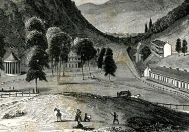 A portion of the frontispiece from A Visit to the Red Sulphur Spring of Virginia, during the summer of 1837 by Henry Huntt