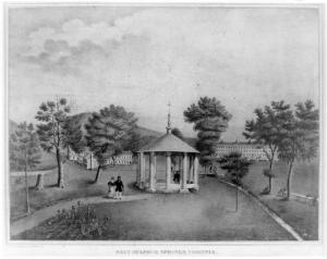 An early view of the pavilion at Salt Sulphur Springs {2}