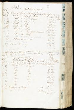 Dr. Burke frowned upon the mixing of baths and spirits, but this account book shows that both bar and bath accounts were quite active in the summer of 1856. {2}