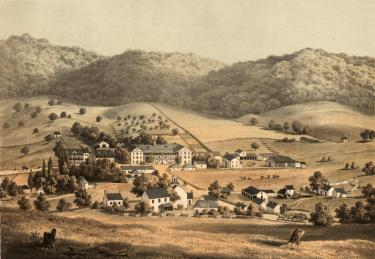 Edward Beyer's print of Warm Springs published in 1857. {1}