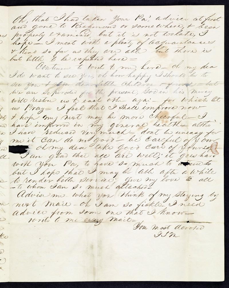 White Sulphur Springs Letter From J S Martin To Martha