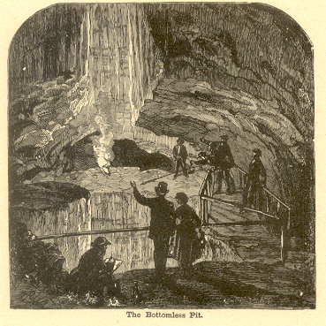 The Bottomless Pit in Mammoth Cave, Woodcut, 1887