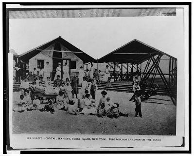 Tuberculous children on the beach, Sea Breeze Hotel, Sea Gate, Coney Island, New York, c. 1910