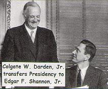 Colgate Darden transfers presidency to Edgar Shannon