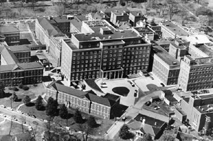 Aerial view of the hospital complex