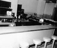 A view of the soda fountain in the new Hospital Snack Bar