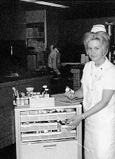 Mrs. Stanton with one of the Hospital's new medication carts