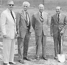 Ground-breaking ceremonies for the new Medical Library (from left to right) Drs. McLemore Birdsong and William R. Drucker, Mr. C. Waller Barrett, and  Dr. Wilhelm Moll