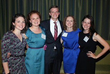 Bowman Scholars: Drew Saylor, Era Kryzhanovskaya, Brandon Dickinson, Emily Kinsey, and Christina Portal. Photo courtesy of the U.Va. Medical Alumni Association.