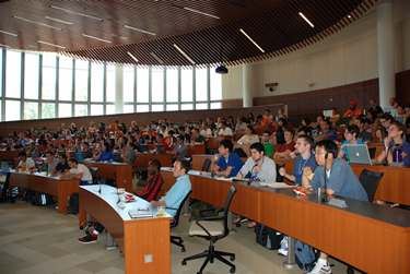 Digital Notebook for SMD16 in the auditorium at the Claude Moore Medical Education Building. Photo courtesy of the U.Va. Medical Alumni Association.