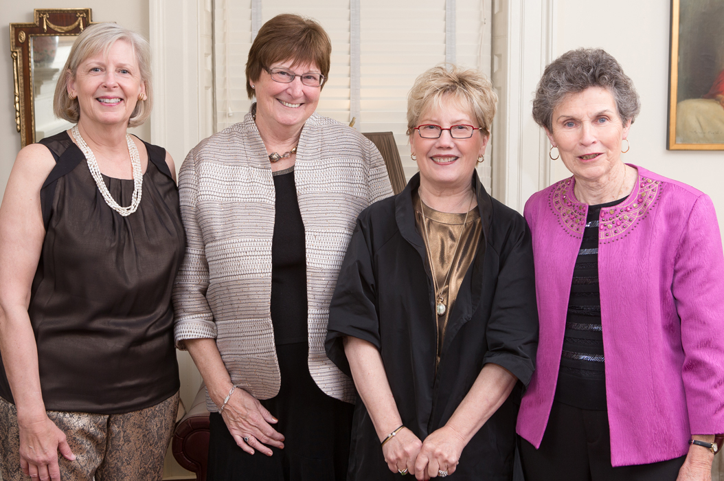 School of Nursing Dean Dorrie Fontaine (left) with the three professors who have served as directors at the Eleanor Crowder Bjoring Center for Nursing Historical Inquiry: Arlene Keeling, Barbra Mann Wall, and Barbara Brodie.  A newly established Barbara M. Brodie Endowed Faculty Fund in Nursing History at UVA honors the founder of the Center which was created 25 years ago.