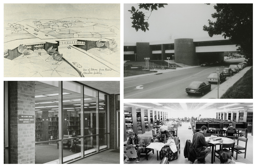 Early images of the Health Sciences Library, clockwise from top left: concept drawing for the new Health Sciences Library, c. 1970; exterior of the HSL, c. 1976; students in the HSL, c. 1980; entrance to the renamed Claude Moore Health Sciences Library, 1981. Images courtesy of Historical Collections & Services, CMHSL, UVA.