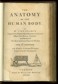 Cheselden, The Anatomy of the Human Body, title page