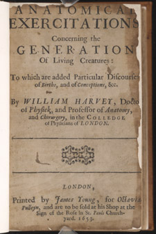 Harvey, Anatomical Exercitations…, title page